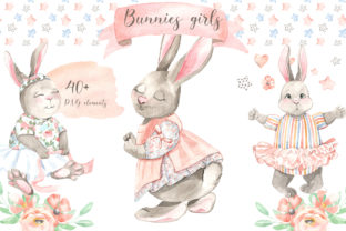 Download Free Bunnies Girls Graphic By Laffresco04 Creative Fabrica for Cricut Explore, Silhouette and other cutting machines.
