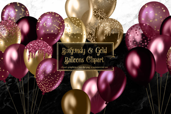 Print on Demand: Burgundy and Gold Balloons Clipart Graphic Illustrations By Digital Curio