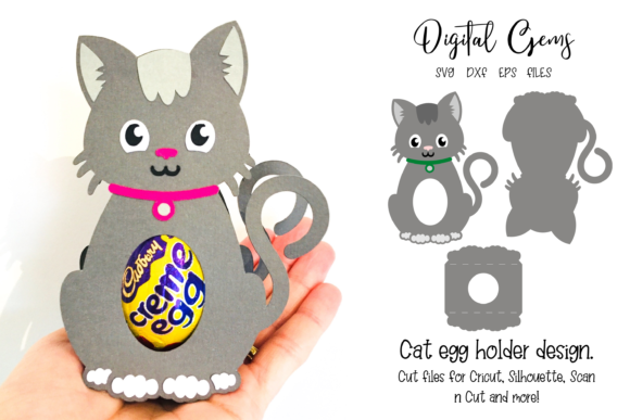 Download Free Cat Egg Holder Design Graphic By Digital Gems Creative Fabrica for Cricut Explore, Silhouette and other cutting machines.