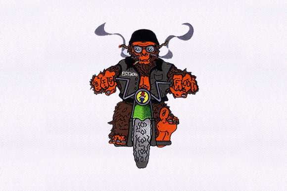 Chopper Riding Gorilla Toys & Games Embroidery Design By DigitEMB