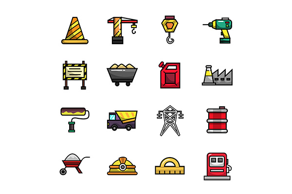 Download Free Construction Icon Set Full Color Graphic By Icontower for Cricut Explore, Silhouette and other cutting machines.
