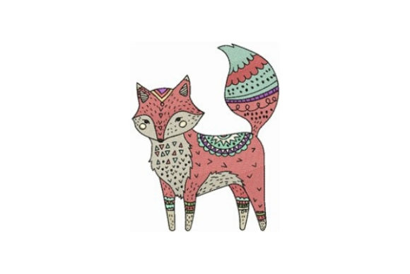 Decorated Fox Woodland Animals Embroidery Design By designsbymira