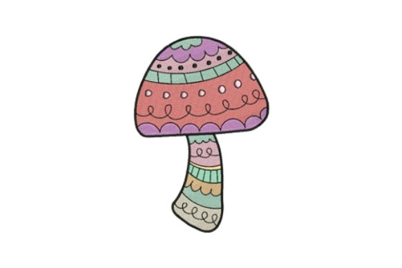 Decorated Mushroom Single Flowers & Plants Embroidery Design By designsbymira