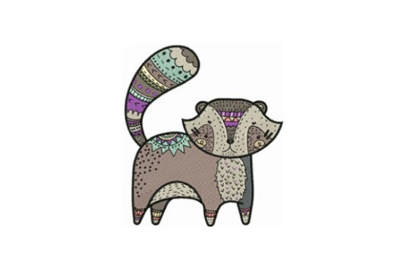 Decorated Raccoon Woodland Animals Embroidery Design By designsbymira