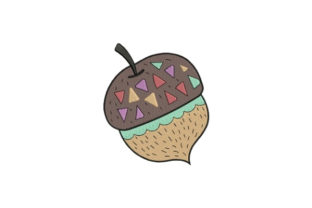 Decorative Acorn Forest & Trees Embroidery Design By designsbymira