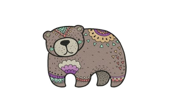 Decorated Bear Woodland Animals Embroidery Design By designsbymira