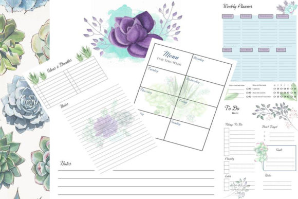 Desert Spring Printable Mini Planner Graphic Print Templates By AHDesign