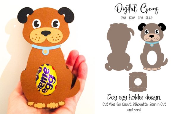Download Free Dog Egg Holder Design Graphic By Digital Gems Creative Fabrica for Cricut Explore, Silhouette and other cutting machines.