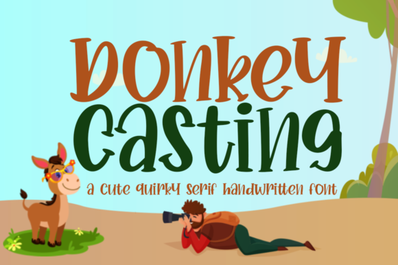 Print on Demand: Donkey Casting Script & Handwritten Font By Haksen