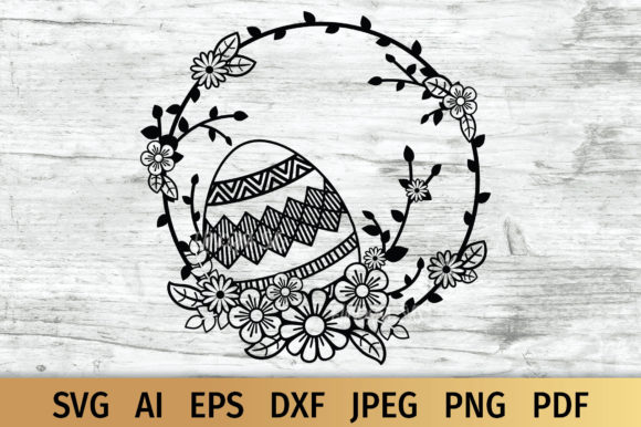 Easter Egg with Floral Frame Graphic Crafts By elinorka