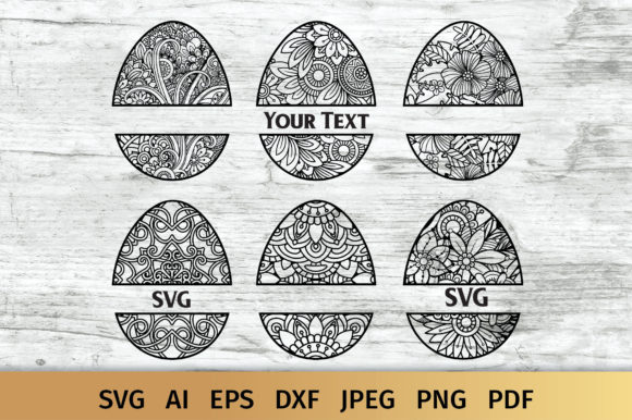 Easter Eggs Split Monograms Graphic Crafts By elinorka