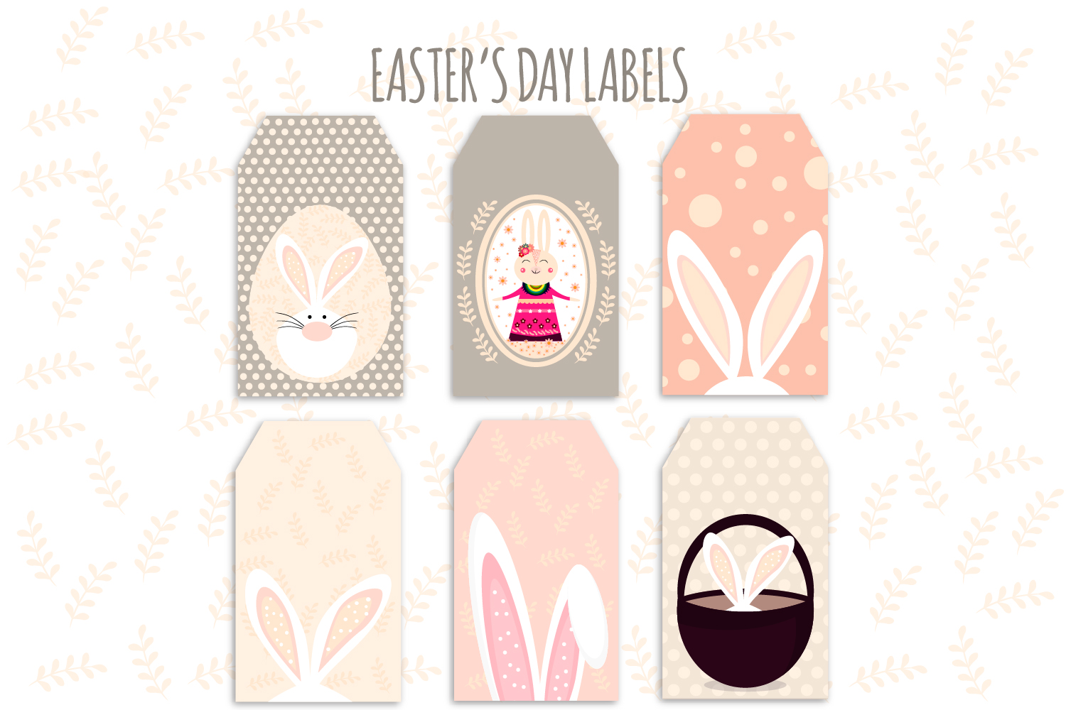 Download Free Easter Labels Easter Bunny Easter Egg Graphic By Igraphic for Cricut Explore, Silhouette and other cutting machines.