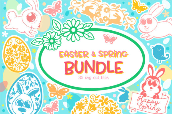 Print on Demand: Easter Spring Bundle - 35 Cut Files Graphic Crafts By tatiana.cociorva