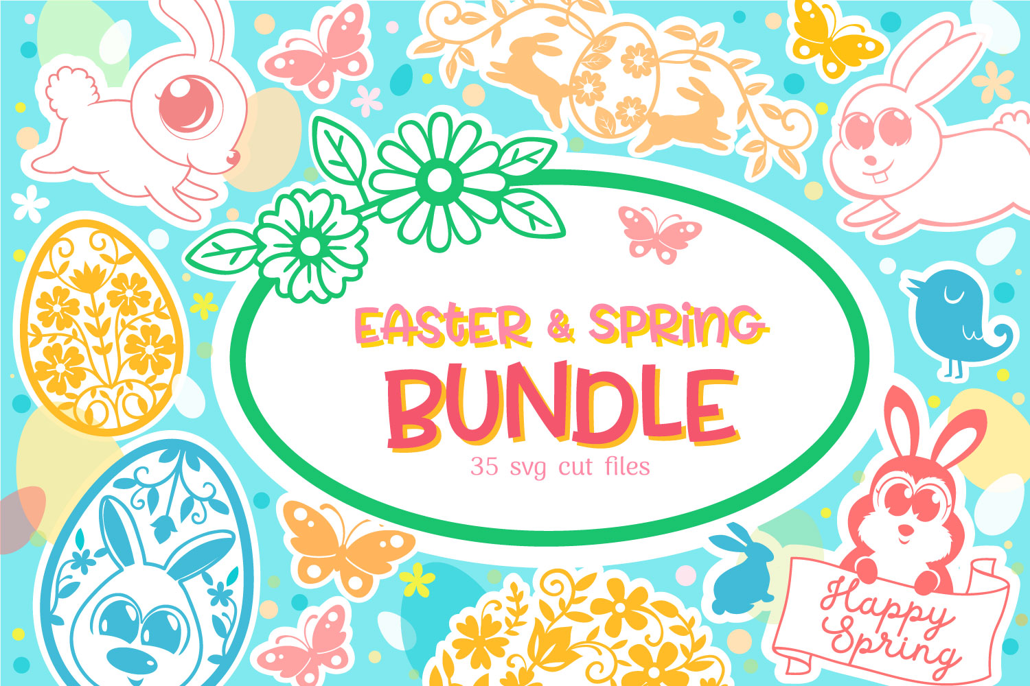 Download Free Easter Spring Bundle 35 Cut Files Graphic By Tatiana Cociorva for Cricut Explore, Silhouette and other cutting machines.
