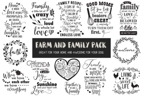 Print on Demand: Farm and Family Pack - 30 Cut Files Graphic Crafts By Nerd Mama Cut Files