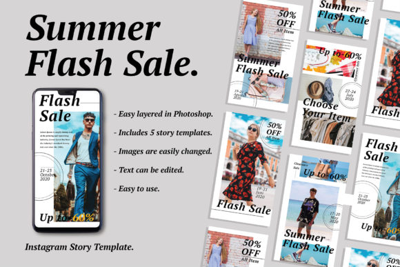 Print on Demand: Flash Sale Instagram Story Graphic Product Mockups By Viaction Type.Co