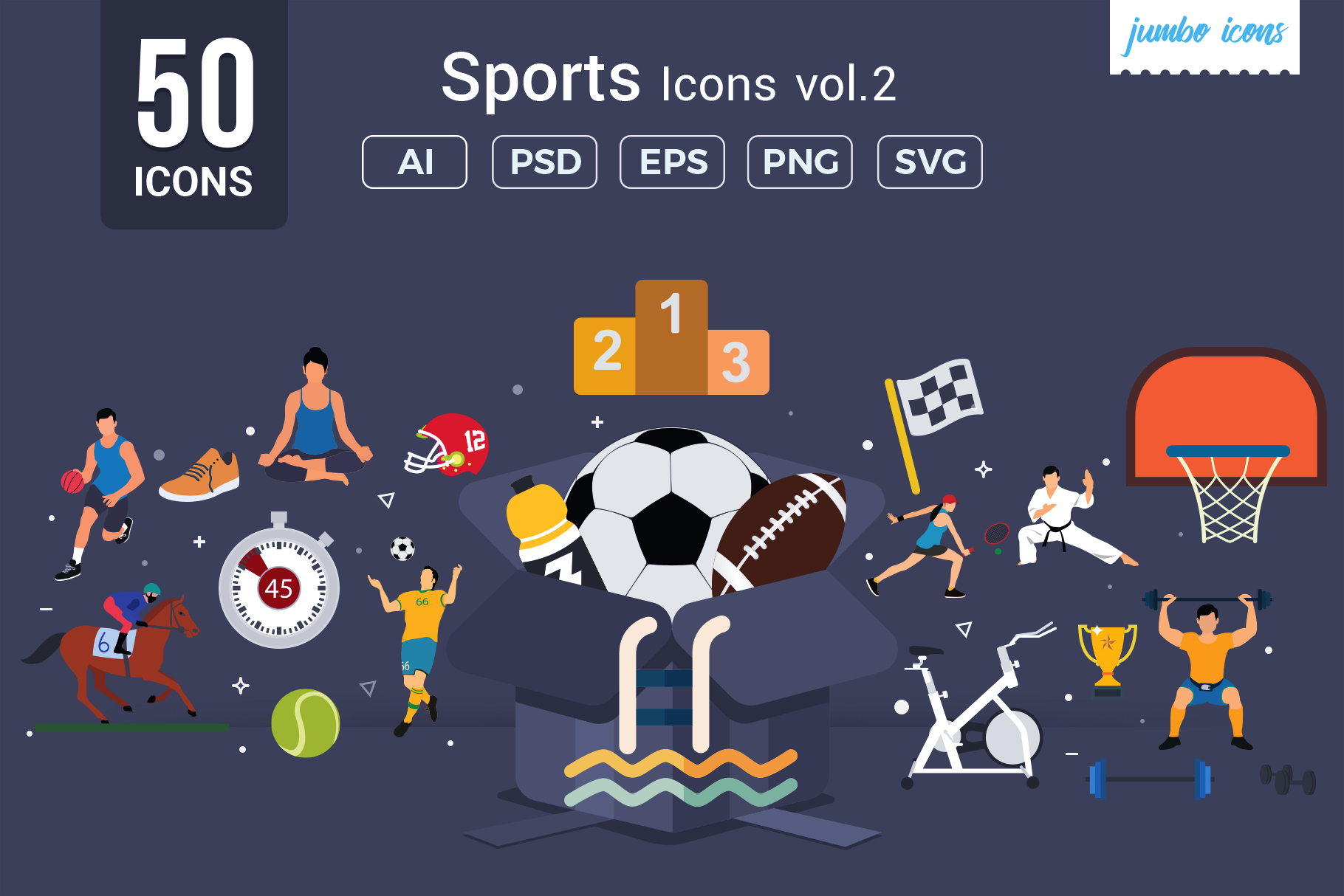 Download Free Flat Vector Icons Sports Pack Graphic By Jumboicons Creative for Cricut Explore, Silhouette and other cutting machines.