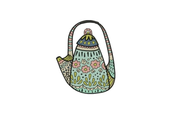 Floral TeaPot Tea & Coffee Embroidery Design By designsbymira