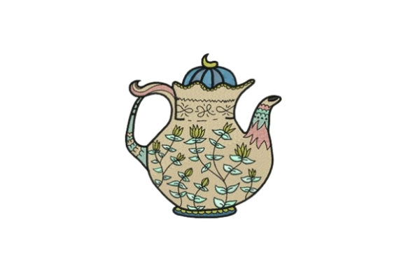 Flower Tea Pot Tea & Coffee Embroidery Design By designsbymira