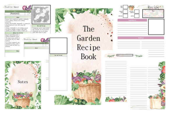 Garden Recipe Book Planner Journal Graphic Print Templates By AHDesign