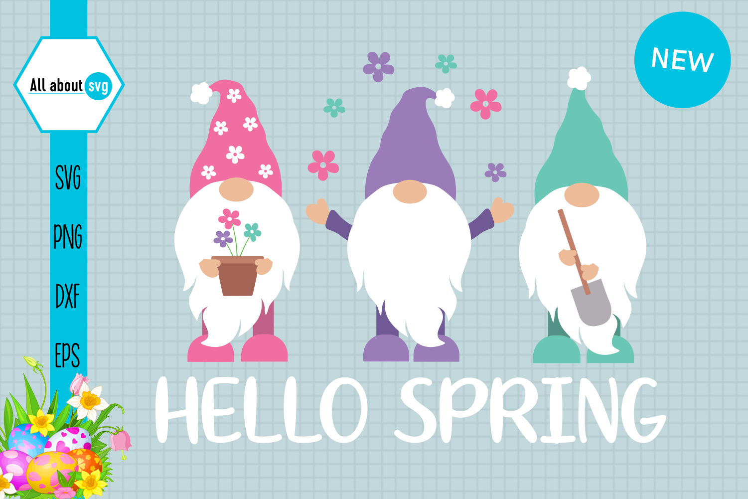 Download Free Gnomies Spring Spring Gnome Graphic By All About Svg Creative Fabrica for Cricut Explore, Silhouette and other cutting machines.