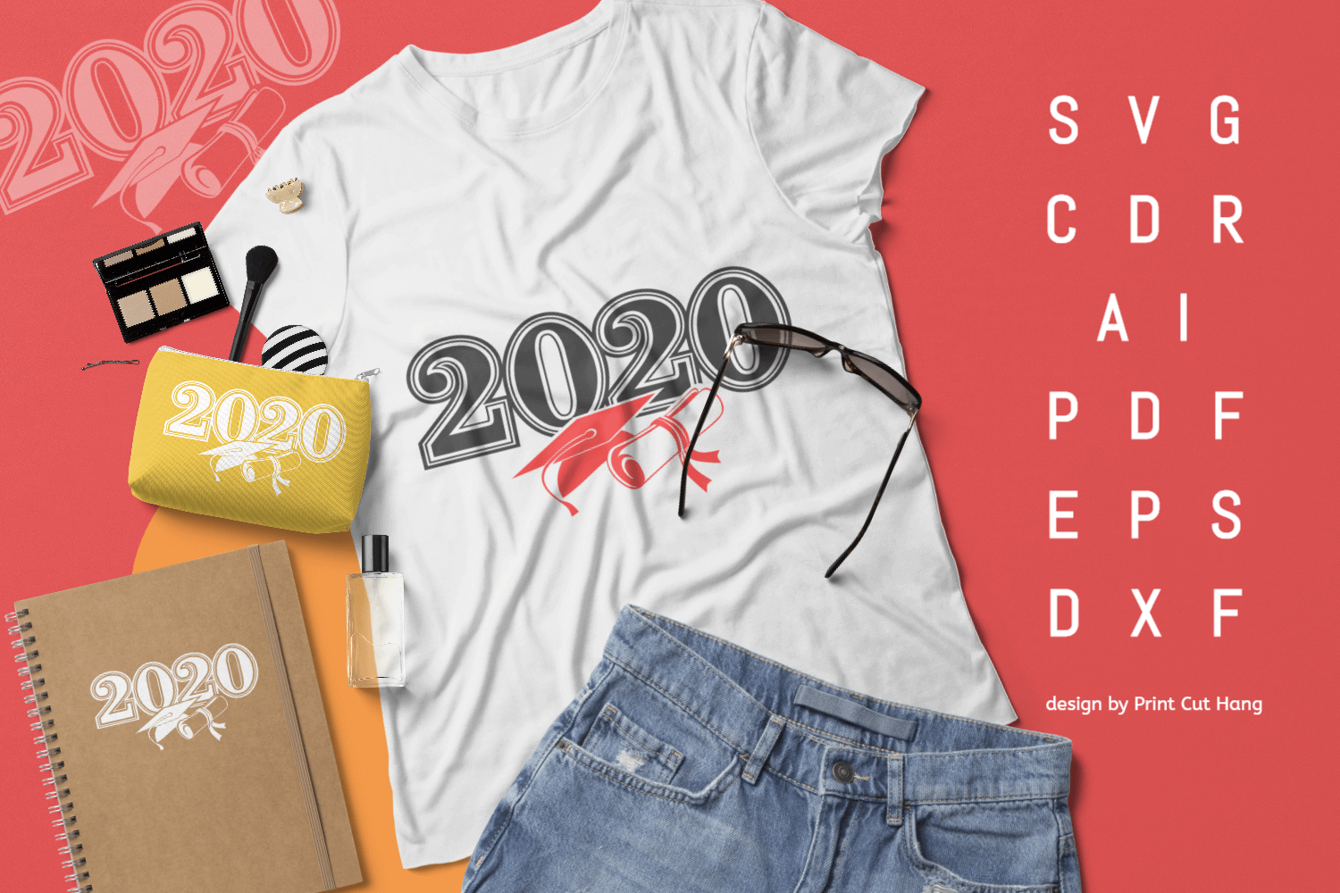 Download Free Graduation 2020 Year Hat N Diploma Graphic By Print Cut Hang for Cricut Explore, Silhouette and other cutting machines.