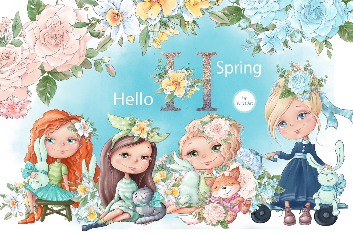 Download Free Hello Spring Graphic By Nicjulia Creative Fabrica for Cricut Explore, Silhouette and other cutting machines.