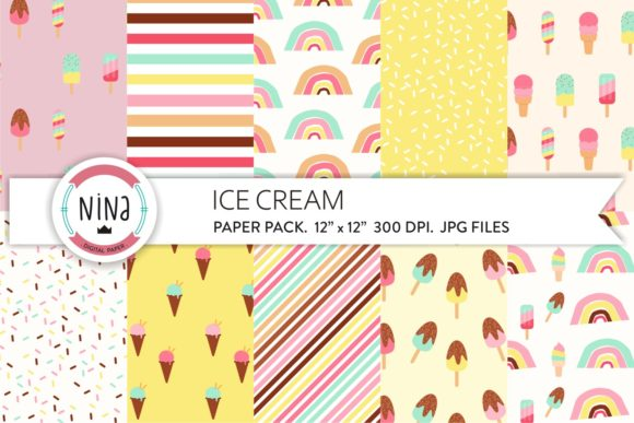 Download Free Ice Cream Rainbow Digital Paper Rainbow Graphic By Nina Prints for Cricut Explore, Silhouette and other cutting machines.