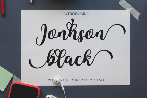 Print on Demand: Jonhson Black Script & Handwritten Font By art design
