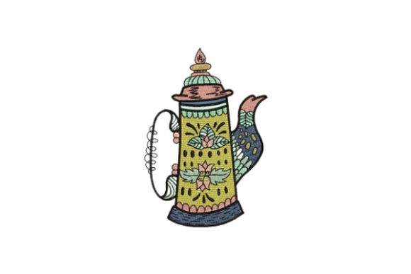 Lime Tea Pot Tea & Coffee Embroidery Design By designsbymira