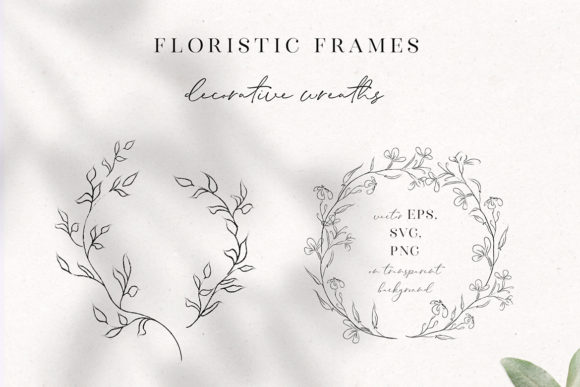 Print on Demand: Line Drawing Floral Wreaths, Sprigs Graphic Illustrations By Olya.Creative
