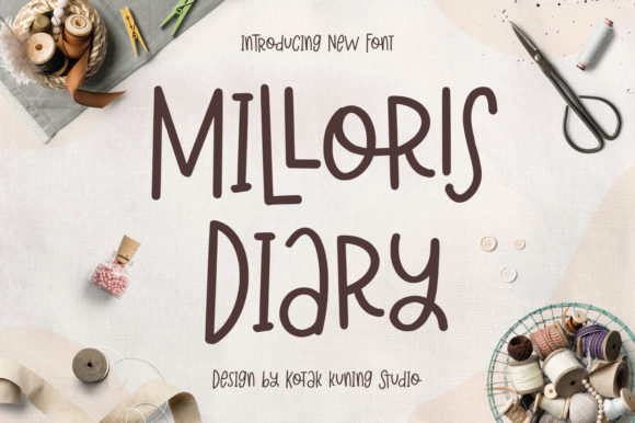 Download Free Milloris Diary Font By Kotak Kuning Studio Creative Fabrica for Cricut Explore, Silhouette and other cutting machines.
