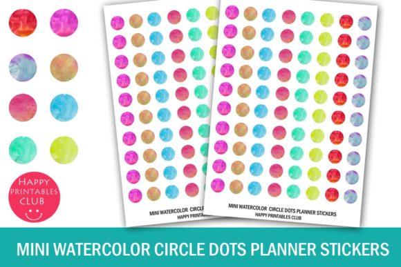 Print on Demand: Mini Watercolor Circle Dots Stickers Graphic Crafts By Happy Printables Club