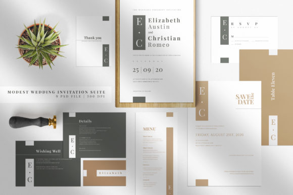 Download Free Minimal Wedding Invitation Suite Graphic By Azka Creative for Cricut Explore, Silhouette and other cutting machines.
