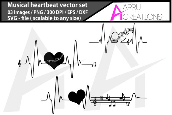 Print on Demand: Music Heartbeat Silhouette/music Heart Graphic Icons By aparnastjp
