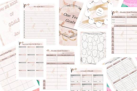 My Big Book of Goals Graphic Print Templates By AHDesign