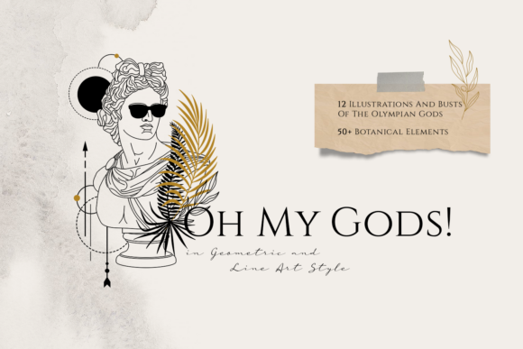 Print on Demand: Oh My Gods! Olympian Gods in Line Art Graphic Logos By Cosmic Store