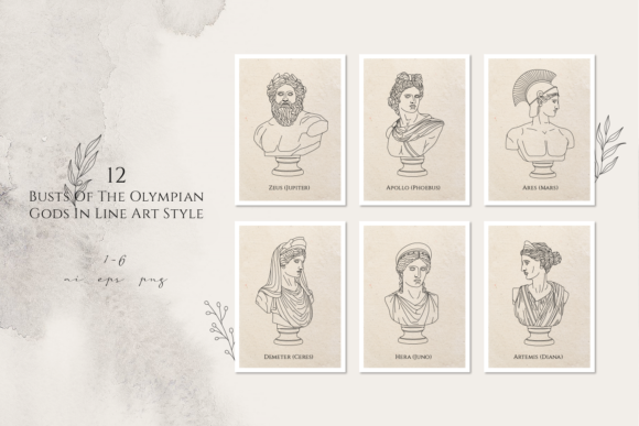 Print on Demand: Oh My Gods! Olympian Gods in Line Art Graphic Logos By Cosmic Store - Image 5