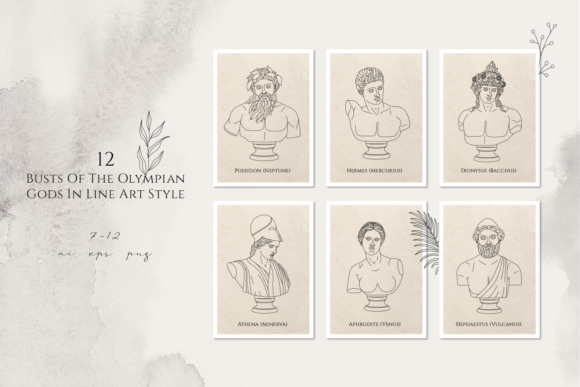 Print on Demand: Oh My Gods! Olympian Gods in Line Art Graphic Logos By Cosmic Store - Image 6