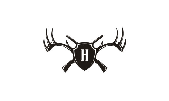 Download Free Shield Deer Stag Antler Gun Hunter Logo Graphic By Enola99d for Cricut Explore, Silhouette and other cutting machines.