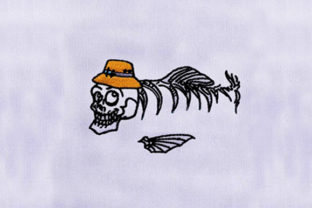Skull Hat Fish Bones Pirates Embroidery Design By DigitEMB