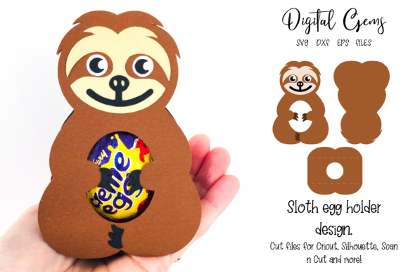 Download Free Sloth Egg Holder Design Graphic By Digital Gems Creative Fabrica for Cricut Explore, Silhouette and other cutting machines.
