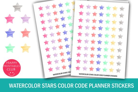 Print on Demand: Stars Color Coding Dot Stickers Planner Graphic Crafts By Happy Printables Club