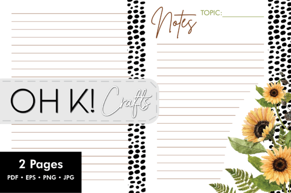 Print on Demand: Sunflower Note Paper Graphic Print Templates By Oh K Productions