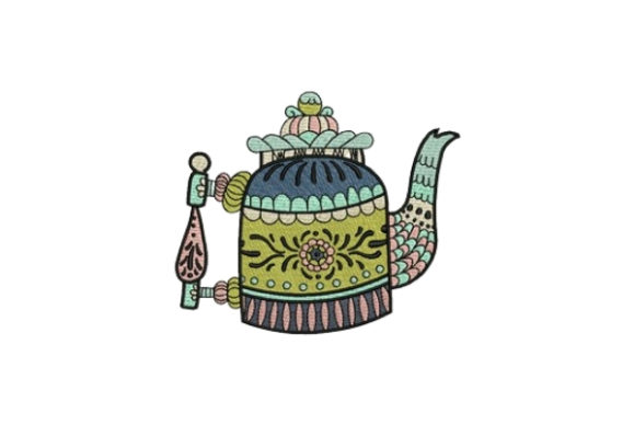 Tea Pot Tea & Coffee Embroidery Design By designsbymira