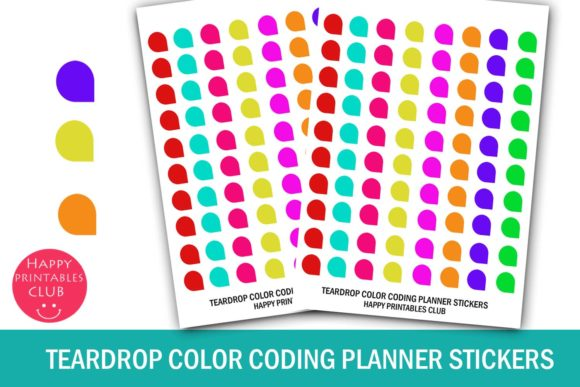 Download Teardrops Color Coding Stickers Planner
