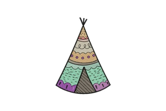 Tee Pee Camping & Fishing Embroidery Design By designsbymira