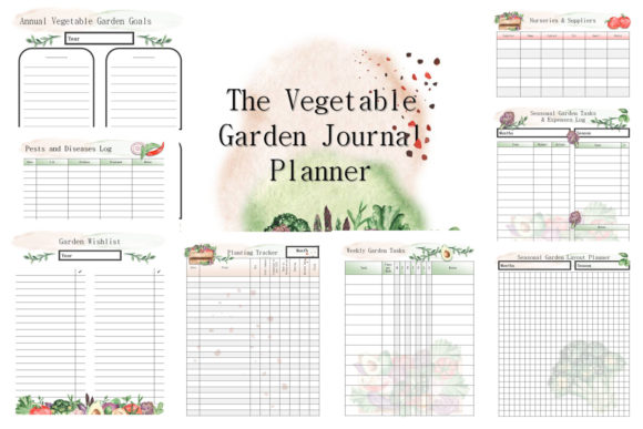 The Vegetable Garden Journal Planner Graphic Print Templates By AHDesign