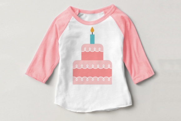 Tiered Birthday Cake with Candle Graphic Crafts By DesignedByGeeks