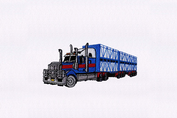 Trailer Truck Vehicle Transportation Embroidery Design By DigitEMB